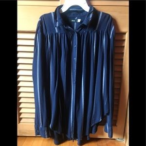 BDG Indigo Blue Vertical Striped Blouse Small